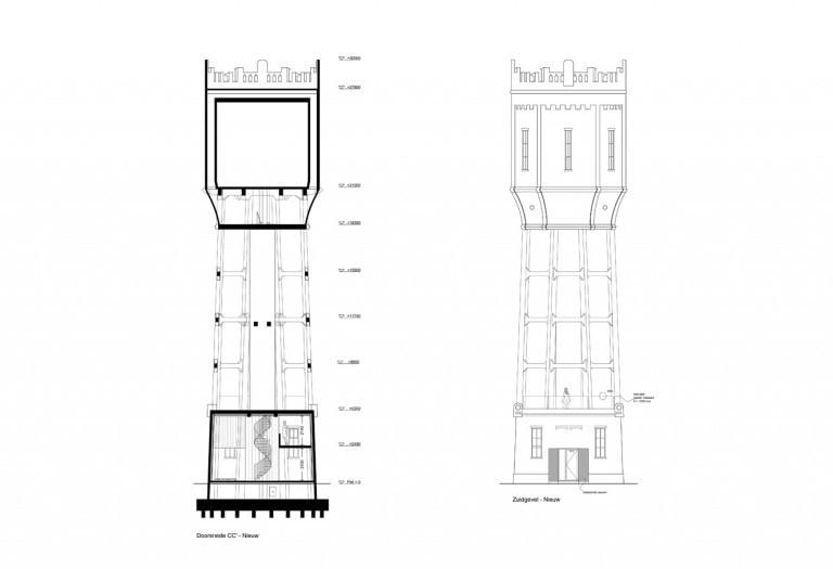 verbouwing-watertoren-woonhuis-doorsnede-gevelaanzicht